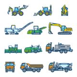 Road construction machines. Color vector illustration. Icon style set Stock Images