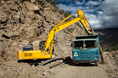 Road construction in mountains Himalayas Stock Images