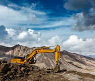 Road construction in mountains Himalayas Stock Photo