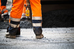 Road construction, new asphalt Royalty Free Stock Images