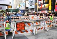 Road Construction in NYC. Road construction in Manhattan next Royalty Free Stock Photos