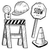 Road construction objects vector Royalty Free Stock Images