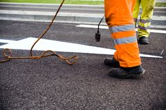Road construction and painting Royalty Free Stock Photos