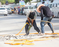 Road Construction With Pneumatic Drill. Stock Image