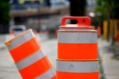 Road Construction Pylons. Two road construction pylons blocking the street Royalty Free Stock Photo