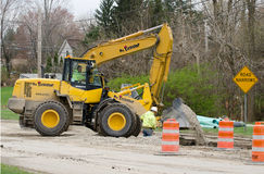 Road construction sewer repair Royalty Free Stock Photos