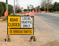 Road Construction Sign, Road Closed. Royalty Free Stock Image