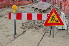 Road construction sign  with yellow warning light Stock Photography