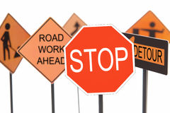 Road construction signs royalty free stock image