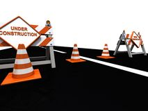 Road construction signs cones and barriers Royalty Free Stock Image