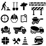 Road construction signs. Road repair, construction and maintenance icon set Royalty Free Stock Photo