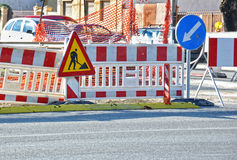 Road  construction signs Stock Photos