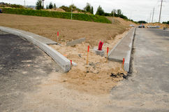 Road construction site car go light pole wires Royalty Free Stock Images
