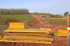 Road construction site foundations stock images