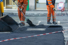 Road construction, teamwork Royalty Free Stock Images