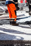 Road construction, teamwork Royalty Free Stock Photo
