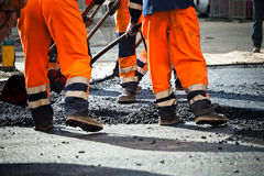 Road construction, teamwork Royalty Free Stock Image