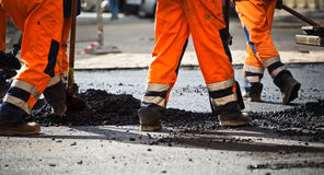 Road construction, teamwork Stock Photography