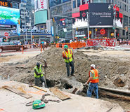 Road Construction At Time Square Stock Photo