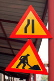 Road construction traffic signs Royalty Free Stock Image