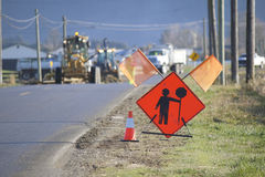 Road Construction Up Ahead. A sign warns motorists that road construction is occurring up ahead Royalty Free Stock Images