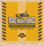 Road construction vintage poster design concept Royalty Free Stock Photo