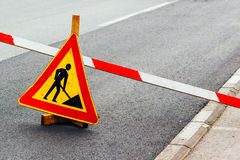 Road construction work sign Royalty Free Stock Photos
