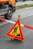 Road construction work sign Royalty Free Stock Image