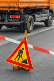 Road construction work sign Royalty Free Stock Photography