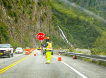 Road Construction Worker Alaska Royalty Free Stock Image