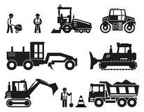 Road construction worker black vector icons set Stock Photography