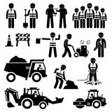 Road Construction Worker Stick Figure Pictogram Icons. A set of pictogram representing road construction with workers and engineers working as a team. This sets Stock Photos