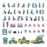 Road construction workers in different action poses, machines and signs. Color vector illustration. Icon style set Stock Illustration