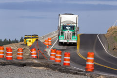 Road construction. Worley, Idaho - September 15: Large truck driving thru a construction zone, September 15 2015 in Worley, Idaho stock photo