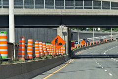 Road. Constructional along the highway with signs Royalty Free Stock Image