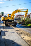 Road constructions, watter supply Stock Images