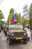 Road convoy on parade in honor of the Victory in the Second Worl Stock Images