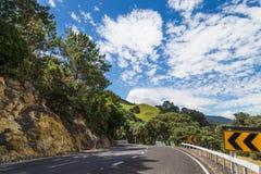 Road on the Coromandel. Curves of the road on the Coromandel peninsula, the North Island, New Zealand Royalty Free Stock Photo