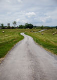 Road in the country and hay. The road to the country and  the farm Royalty Free Stock Photos