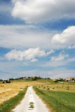 Road through countryside. Scenic view of road in countryside with village in background under blue sky and cloudscape stock photography