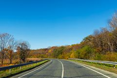 Road in countryside with beatiful nature in autumn season. And clear blue sky royalty free stock image