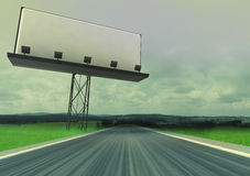 Road in countryside with billboard panel advertise. Illustration Stock Photo