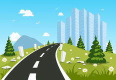 Road through the countryside into the city Royalty Free Stock Photography