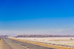 Road through countryside. Road through the countryside covered with frost Stock Photography