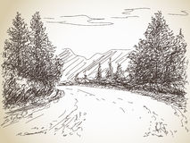 Road in countryside. Hand drawn landscape Stock Images