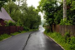 Road in the countryside. Route through the village royalty free stock photography