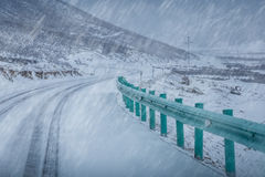 Road cover with snow in a snow blizzard and fog Stock Image