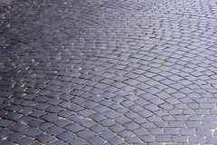 The road, covered with black stones Royalty Free Stock Images