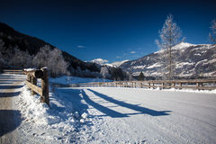 Road covered by snow at high Austrian Alps Stock Image