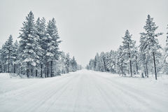 Road covered with snow after snow blizzard, Finland. Country road covered with snow after snow blizzard Stock Photos